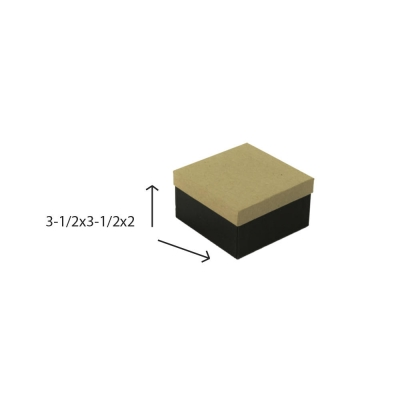 Divine Jewelry Boxes-#34 - 3-1/2 x 3-1/2 x 2 - Pack 100-Divine Kraft w/ Black Base