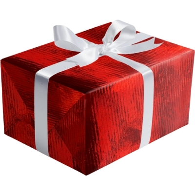Red Ribbed Foil Gift Wrap 30 x 833