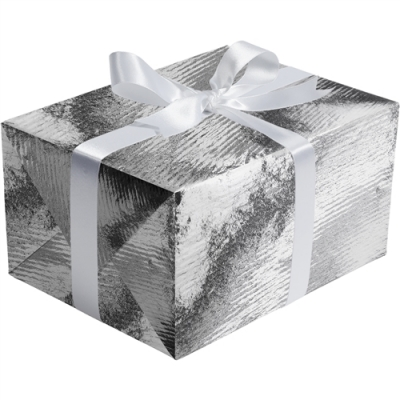 Silver Ribbed Foil Gift Wrap 30 x 833