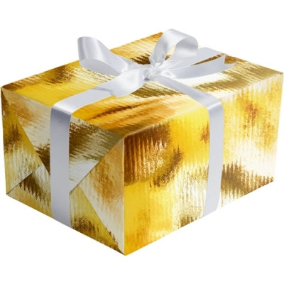 Gold Ribbed Foil Gift Wrap 30 x 417