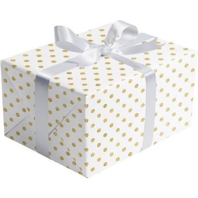 Gold Dots on White Gift Wrap 30 x 833