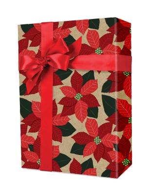 Field of Poinsettias on Kraft Gift Wrap 24 x 417