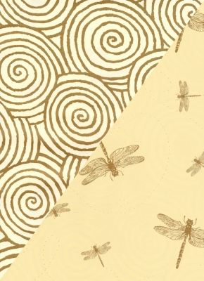 """Dragonflies and Swirls Gift Wrap 24"""" x 833'"""
