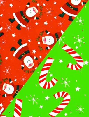 "Ho Ho Stanta and Stars Gift Wrap 30"" x 417'"