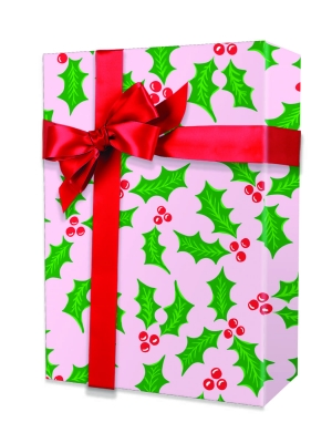 Pink Holly Gift Wrap 24 x 417