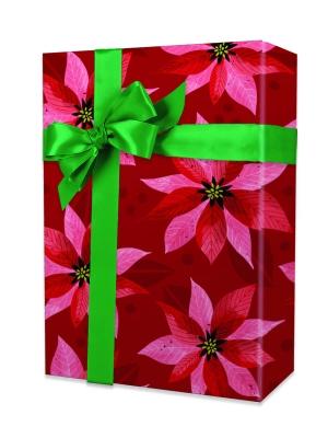 Pearlized Poinsettias Gift Wrap 24 x 417