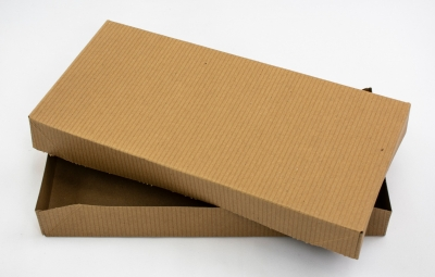 11-1/2 x 5-1/2 x 1-1/2 Kraft Pinstripe Boxes - Pack 100