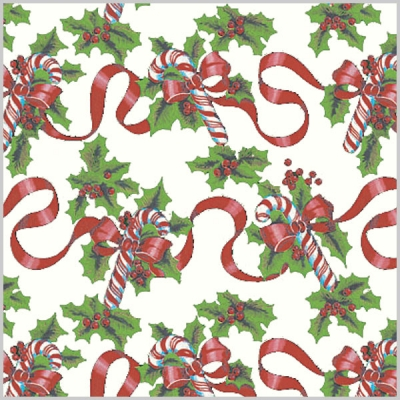 Red Ribbons and Canes Gift Wrap 36 x 417