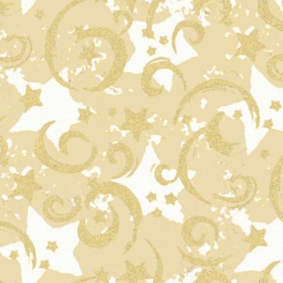 Gold Stars and Swirls on Kraft Gift Wrap 36 x 417