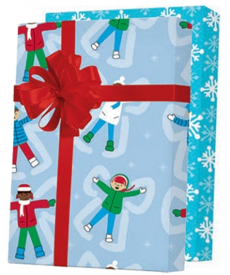 """Snow Angels Reversible Gift Wrap 24"""" x 833'"""