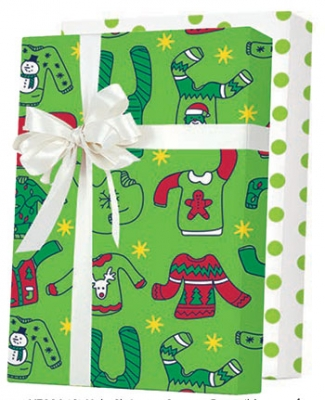 """Ugly Christmas Sweater Reversible Gift Wrap 24"""" x 833'"""
