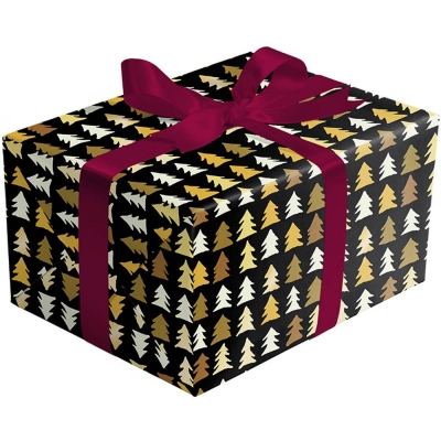 Golden Pine on Black Gift Wrap 30 x 833