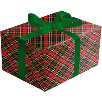 Red Gold Holographic Plaid Gift Wrap 30 x 417